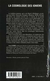 La Cosmologie Des Ioniens - 4ème de couverture - Format classique