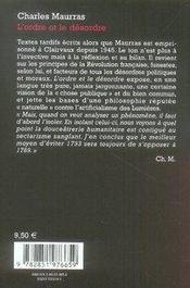 L'ordre et le désordre - 4ème de couverture - Format classique