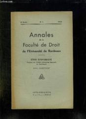 Annales De La Faculte De Droit De L Universite De Bordeaux. N° 2 1953. Serie Economique. - Couverture - Format classique