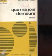 Que Ma Joie Demeure De Giono - Couverture - Format classique