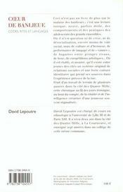 Coeur De Banlieue - 4ème de couverture - Format classique