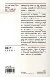 Les quatres mystères de la population française - 4ème de couverture - Format classique