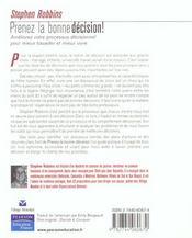 Prenez la bonne decision ! - 4ème de couverture - Format classique