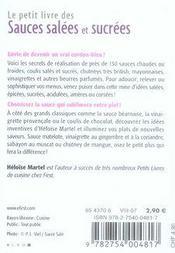 Le Petit Livre De Cuisine ; Sauces Salées Et Sucrées - 4ème de couverture - Format classique