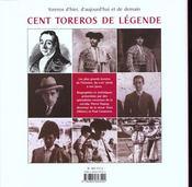 Cent Toreros De Legende - 4ème de couverture - Format classique