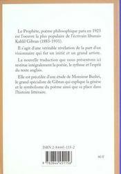 Prophete - 4ème de couverture - Format classique