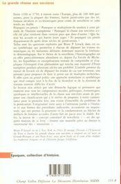 La Grande Chasse Aux Sorcieres ; En Europe Au Debut Des Temps Modernes - 4ème de couverture - Format classique