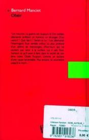 Obéir - 4ème de couverture - Format classique