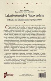 La fonction consulaire à l'époque moderne ; l'affirmation d'une institution économique et politique (1500-1700) - 4ème de couverture - Format classique