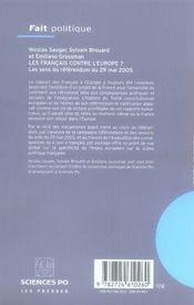 Les français contre l'Europe ; les sens du référendum du 29 mai 2005 - 4ème de couverture - Format classique