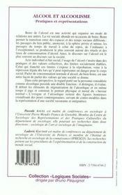 Alcool et alcoolisme ; pratiques et représentations - 4ème de couverture - Format classique