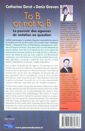 To b or not to b ; le pouvoir des agences de notation en question - 4ème de couverture - Format classique