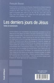 Les derniers jours de jesus - 4ème de couverture - Format classique