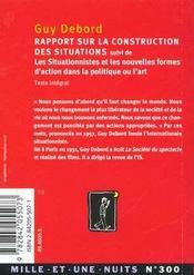 Rapport Sur La Construction Des Situations - 4ème de couverture - Format classique