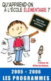 Qu'apprend-on à l'école élémentaire ? - Couverture - Format classique