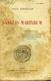 Sanguis Martyrum. - Couverture - Format classique