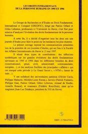 Les Droits Fondamentaux De La Personne Humaine En 1995 Et 1996 - 4ème de couverture - Format classique
