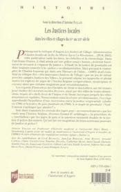 Justices Locales. Dans Les Villes Et Villages D Ancien Regime - 4ème de couverture - Format classique
