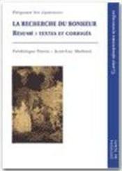 Recherche Du Bonheur ; Resume ; Textes Et Corriges - Couverture - Format classique