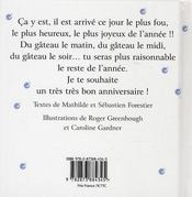 Bon Anniversaire - Pour Un Garcon Pour Un Homme - 4ème de couverture - Format classique