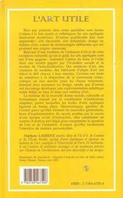 L'Art Utile : Les Ecoles D'Arts Appliques Sous Le Second Empire Et La Troisieme Republique - 4ème de couverture - Format classique