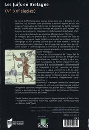 Les juifs en bretagne, v-xx siècles - 4ème de couverture - Format classique
