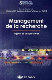Management de la recherche ; enjeux et perspectives - Intérieur - Format classique