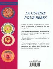 Cuisine Pour Bebes - 4ème de couverture - Format classique