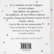 Bon Anniversaire - Pour Une Fille Pour Une Femme - 4ème de couverture - Format classique