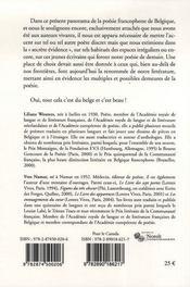 Poètes aujourd'hui ; un panorama de la poésie francophone de Belgique - 4ème de couverture - Format classique
