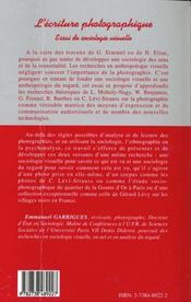 L'Ecriture Photographique ; Essai De Sociologie Visuelle - 4ème de couverture - Format classique