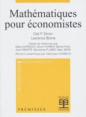 Mathematiques Pour Economistes - Intérieur - Format classique