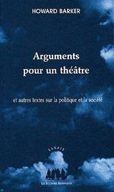 Arguments Pour Un Theatre - Couverture - Format classique