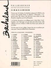 Bachelard - 4ème de couverture - Format classique