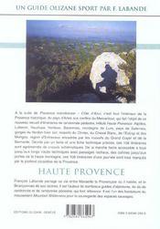 Randonnée pédestre Haute-Provence - 4ème de couverture - Format classique