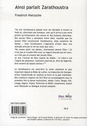 Ainsi parlait Zarathoustra ; en dialogue avec 40 oeuvres de la collection de l'Art brut à Lausanne - 4ème de couverture - Format classique