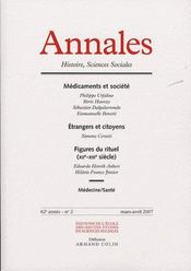 ANNALES HISTOIRE SCIENCES SOCIALES N.62/2 ; médicaments et société ; étrangers et citoyens ; figures du rituel (XIIe-XIIIe siècle) - Intérieur - Format classique