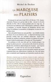 La Marquise Des Plaisirs ; Madame De Pompadour - 4ème de couverture - Format classique