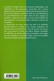 Dictionnaire d'idiomatismes français-anglais - 4ème de couverture - Format classique