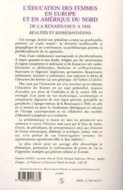L'Education Des Femmes En Europe Et En Amerique Du Nord De La Renaissance A 1848 - 4ème de couverture - Format classique