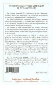 Mutations Des Activites Artistiques Et Intellectuelles - 4ème de couverture - Format classique