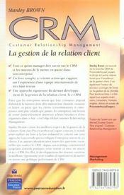 Crm. Gestion De La Relation Clientercial - 4ème de couverture - Format classique
