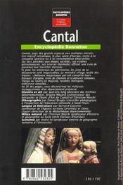 Encyclopedies Regionales ; Cantal ; Hautes Terres D'Auvergne - 4ème de couverture - Format classique