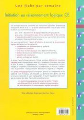 Initiation au raisonnement logique ; CE1, CE2 - 4ème de couverture - Format classique