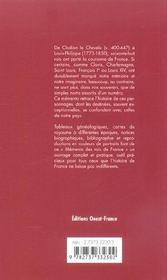 Mémento des rois de France ; histoire, généalogie, chronologie - 4ème de couverture - Format classique