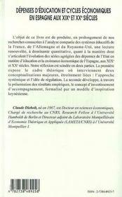Depenses D'Education Et Cycles Economiques En Espagne Aux Xix Et Xx Siecles - 4ème de couverture - Format classique
