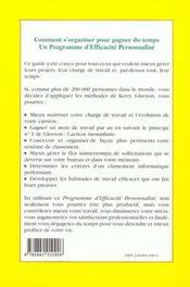Mieux S'Organiser Pour Gagner Du Temps - 4ème de couverture - Format classique