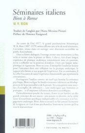 Seminaires Italiens Bion A Rome - 4ème de couverture - Format classique