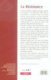 La resistance - 4ème de couverture - Format classique