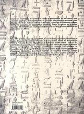 Grammaire de l'égyptien hiéroglyphique du moyen empire au début du nouvel empire - 4ème de couverture - Format classique